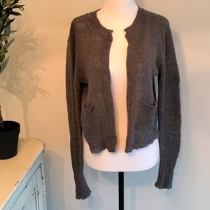 Free People Mohair Crop Cardigan Sweater Gray